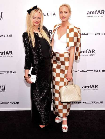 Virginie Courtin-Clarins and Claire Courtin-Clarins attend the amfAR New York Gala to kick off Fall