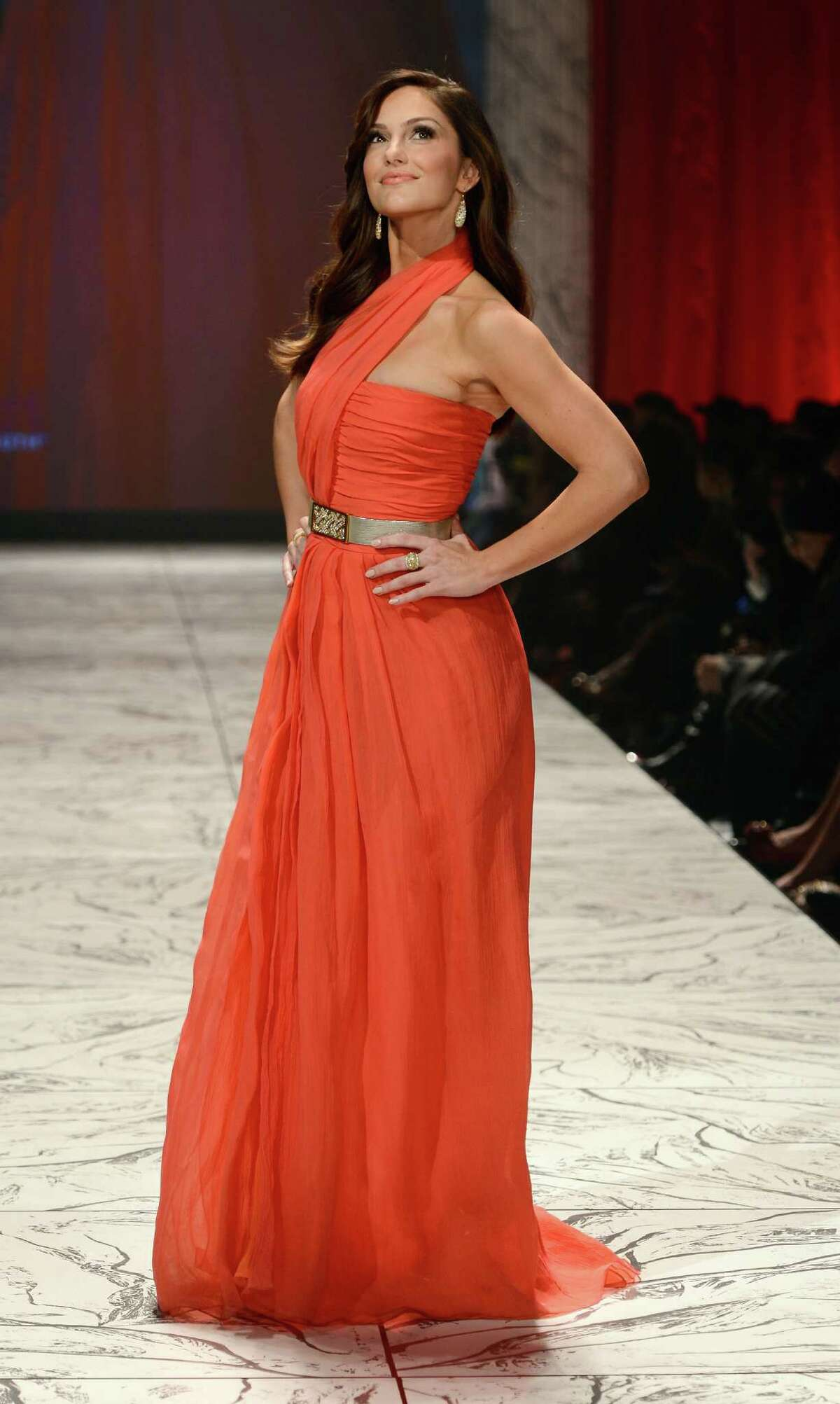 Actress Minka Kelly on the runway at The Heart Truth 2013 Fashion Show.