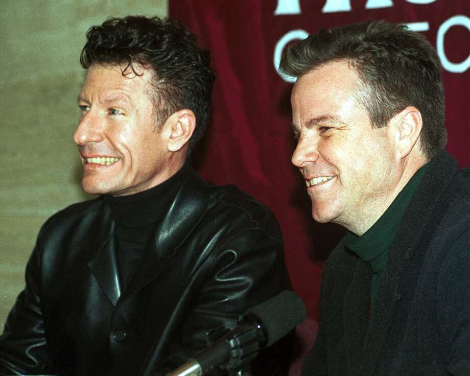 Musicians Lyle Lovett, left, and Robert Earl Keen are seen during a press conference Monday, Jan. 31, 2000, at Texas A&M University in College Station, Texas. The pair were promoting the Bonfire Benefit Concert scheduled for Feb. 6 at the university. All proceeds will go towards the Bonfire Relief Fund which directly benefits victims of the 1999 Aggie Bonfire collapse. (AP Photo/ The Battalion, J.P. Beato) Photo: J.P. BEATO, MBR / THE BATTALION