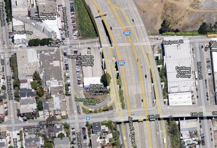 The Mariposa Street off-ramp from southbound Interstate 280 in San Francisco, Photo: Google Maps