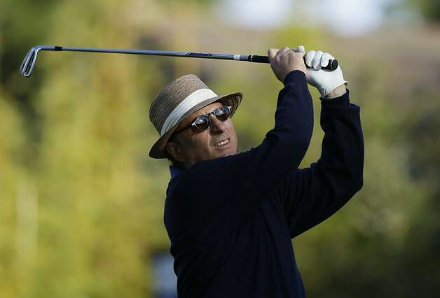 Actor Andy Garcia follows his shot from the third tee of the Monterey Peninsula Country Club Shore Course during the first round of the AT&T Pebble Beach Pro-Am golf tournament Thursday, Feb. 7, 2013, in Pebble Beach, Calif. (AP Photo/Ben Margot) Photo: Ben Margot, Associated Press