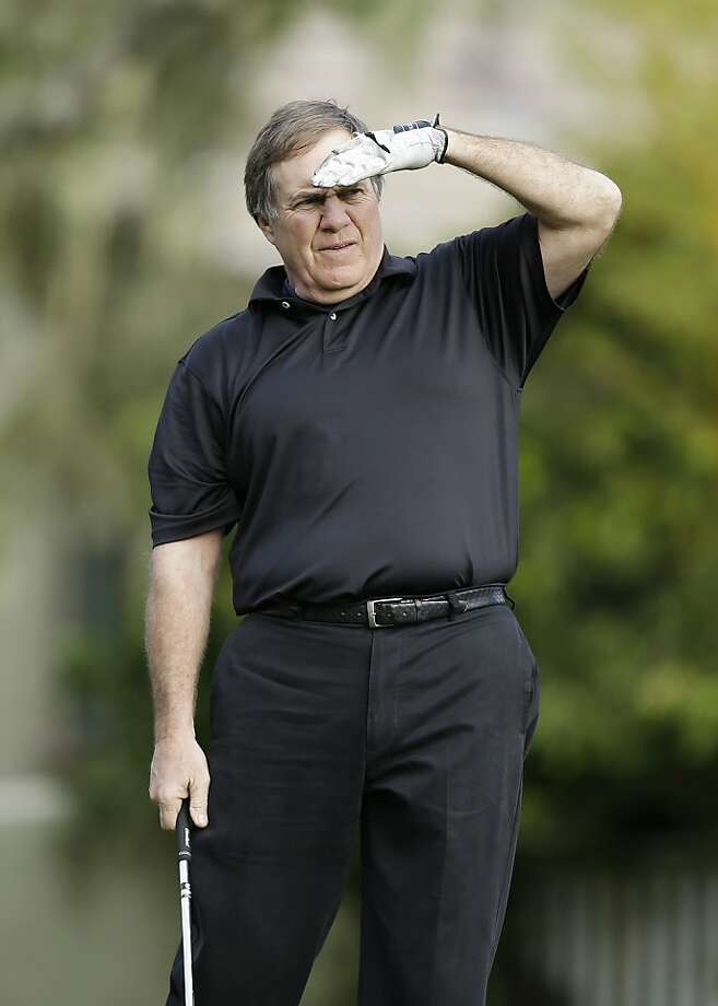 New England Patriots head coach Bill Belichick follows his shot from the third tee of the Monterey Peninsula Country Club Shore Course during the first round of the AT&T Pebble Beach Pro-Am golf tournament Thursday, Feb. 7, 2013, in Pebble Beach, Calif. (AP Photo/Ben Margot) Photo: Ben Margot, Associated Press