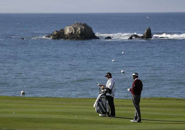 Vijay Singh of Fiji waits to hit from the fourth fairway of the Pebble Beach Golf Links during the first round of the AT&T Pebble Beach Pro-Am golf tournament  Thursday, Feb. 7, 2013 in Pebble Beach, Calif. (AP Photo/Eric Risberg) Photo: Eric Risberg, Associated Press
