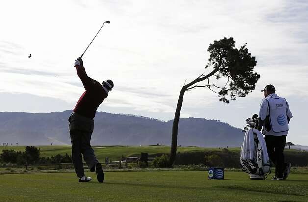 Vijay Singh of Fiji, hits from the fifth tee of the Pebble Beach Golf Links during the first round of the AT&T Pebble Beach Pro-Am golf tournament Thursday, Feb. 7, 2013, in Pebble Beach, Calif. (AP Photo/Eric Risberg) Photo: Eric Risberg, Associated Press