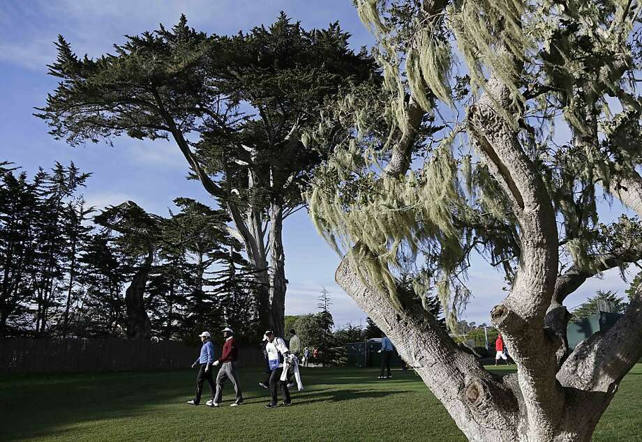 Lee Westwood, left, of England, and Vijay Singh, second from left, of Fiji, walk down the fairway after hitting from the fourth tee of the Pebble Beach Golf Links during the first round of the AT&T Pebble Beach Pro-Am golf tournament Thursday, Feb. 7, 2013, in Pebble Beach, Calif. (AP Photo/Eric Risberg) Photo: Eric Risberg, Associated Press