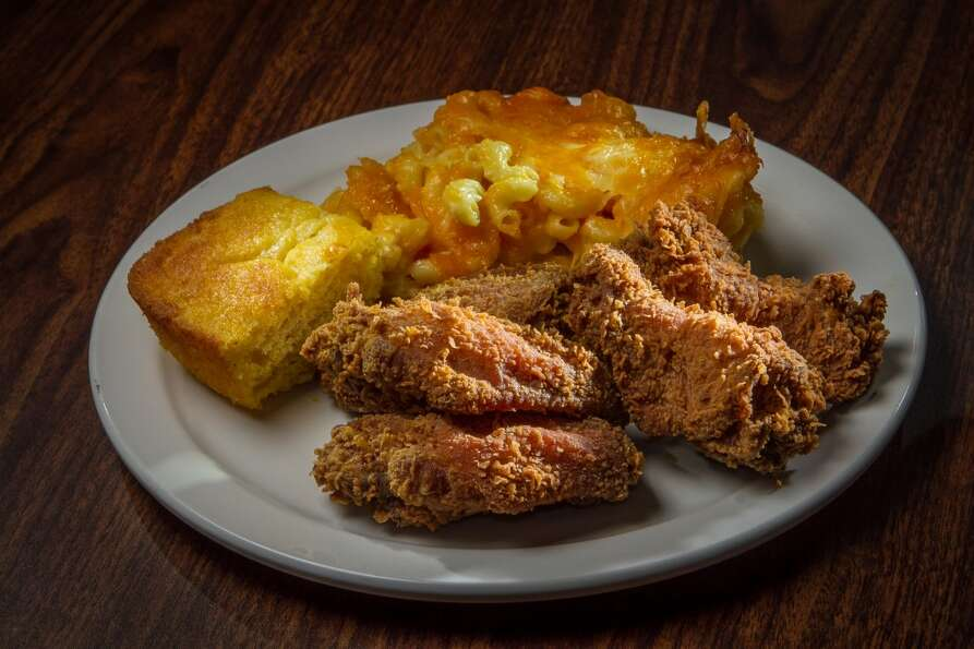 The Fried Chicken with Mac and Cheese and Cornbread at Chicken Diva.