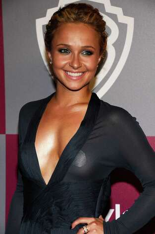 Hayden Panettiere tries to cover up in a sheer outfit - or not? - at a Golden Globes party. Photo: Kevork Djansezian, Getty Images / 2011 Getty Images
