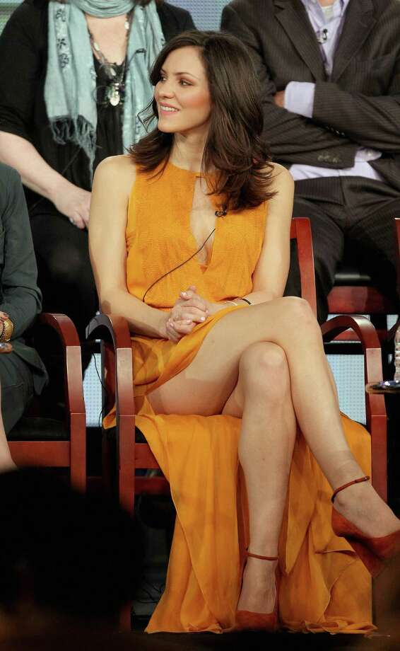 Actress and American Idol star Katharine McPhee shows a lot of leg -- probably more than she intended -- while speaking about her TV show Smash. Photo: Frederick M. Brown, Getty Images / 2012 Getty Images