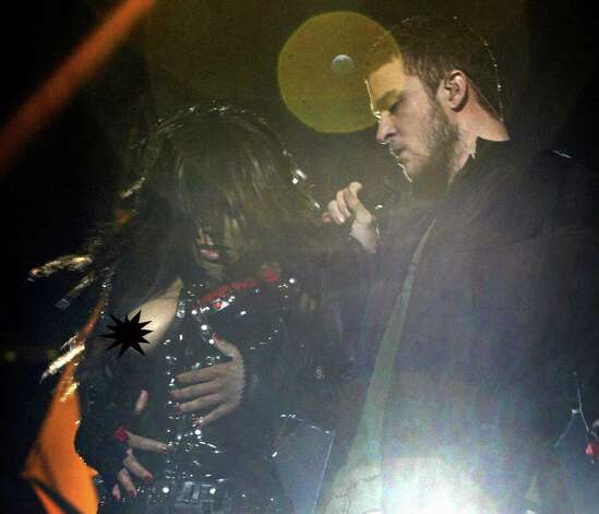Where it all began, with JT ripping a breast cover thingie off Janet Jackson at a Super Bowl performance and exposing a pasty-covered breast.