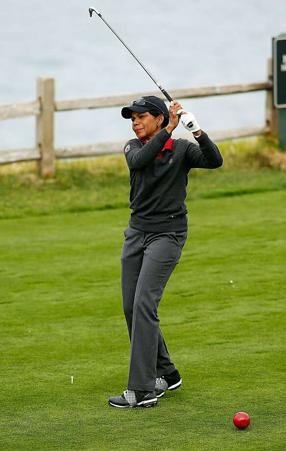 PEBBLE BEACH, CA - FEBRUARY 07:  Former Secretary of State Condoleezza Rice watches a shot during the first round of the AT&T Pebble Beach National Pro-Am at Pebble Beach Golf Links on February 7, 2013 in Pebble Beach, California.  (Photo by Scott Halleran/Getty Images) Photo: Scott Halleran, Getty Images