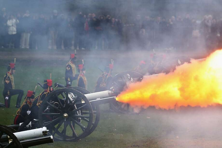 Forty-one kabooms for Her Majesty:The King's Troop, Royal Horse Artillery, fires a 41-gun salute in London's Green Park to mark the 61st anniversary of the queen's accession to the throne. Photo: Dan Kitwood, Getty Images