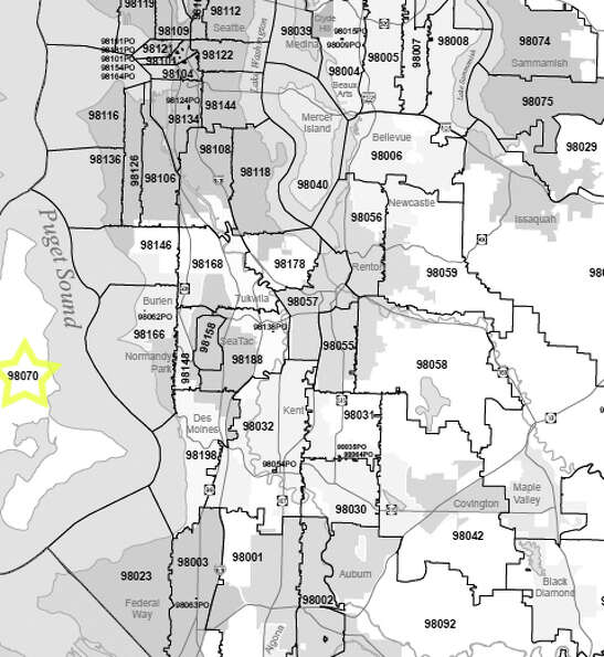 14. 98070: In this Vashon Island ZIP code, 2.1 percent of households received food stamps.