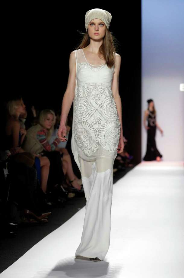 Winter white plays a key role in BCBG Max Azria's Fall 2013. Photo: Richard Drew, STF / AP