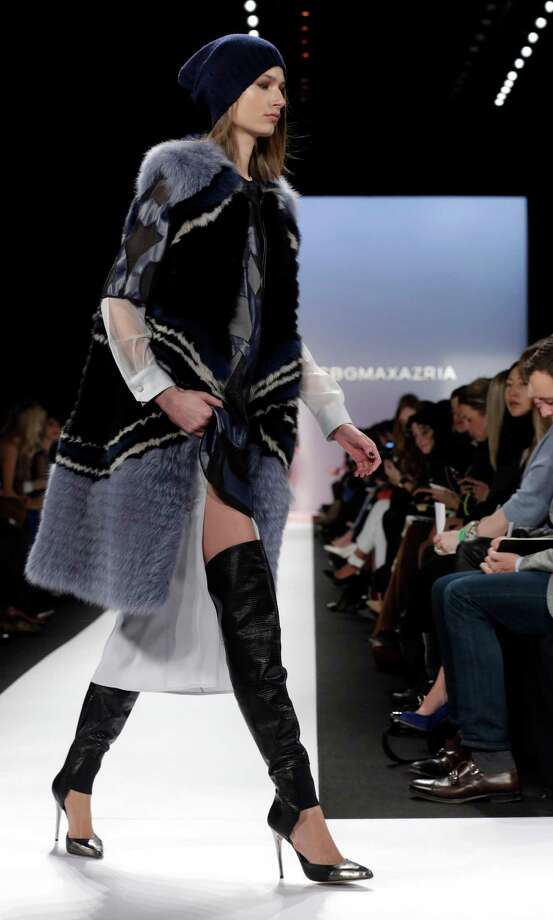 BCBG Max Azria offers a blue-tinted fall fur. Photo: Richard Drew, STF / AP