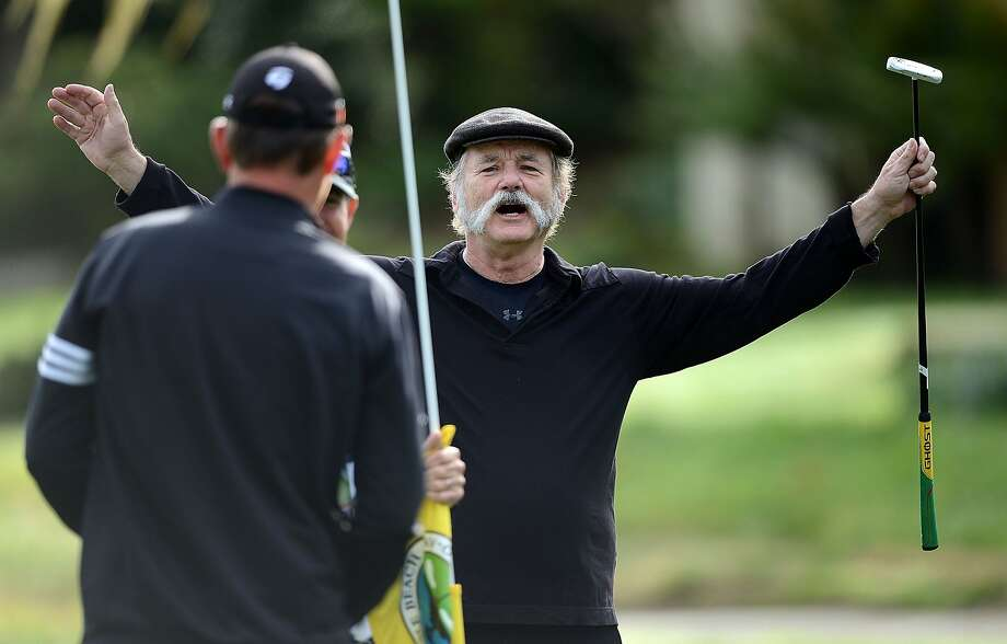 PEBBLE BEACH, CA - FEBRUARY 07:  Actor Bill Murray reacts to holing a putt on the first green during the first round of the AT&T Pebble Beach National Pro-Am at the Monterey Peninsula Country Club on February 7, 2013 in Pebble Beach, California.  (Photo by Harry How/Getty Images) Photo: Harry How, Getty Images