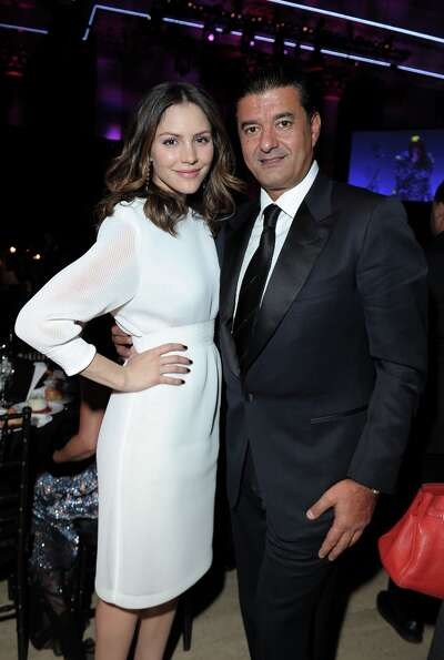 Katharine McPhee (L) and Jacob Arabo attend the amfAR New York Gala to kick off Fall 2013 Fashion We