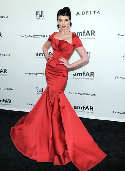 Model Crystal Renn attends amfAR's New York gala at Cipriani Wall Street on Wednesday, Feb. 6, 2013