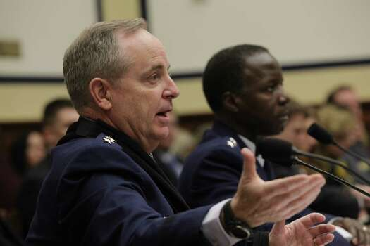 WASHINGTON, DC - January 23 - General Mark A. Welsh III, USAF, Chief of Staff, USAF at left and General Edward A. Rice, Jr., USAF, Commander, Air Education and Training Command, USAF testify at hearing on review of sexual misconduct by basic training instructors at Lackland Air Force Base by House Armed Services Committee, 2118 Rayburn Building. Photo: Susan Biddle / Susan Biddle