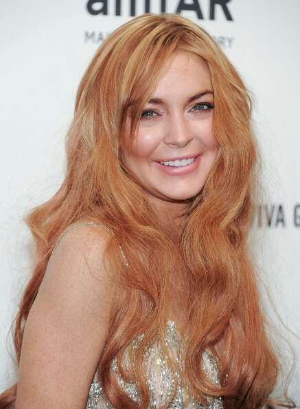 Actress Lindsay Lohan attends amfAR's New York gala at Cipriani Wall Street on Wednesday, Feb. 6, 20