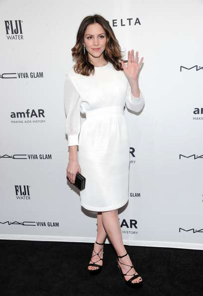 Actress Katharine McPhee attends amfAR's New York gala at Cipriani Wall Street on Wednesday, Feb. 6,