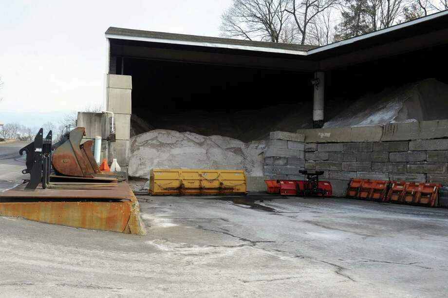 Sand and salt  ready for potential snow storm at John J. Kennedy Fleet Maintenance and Highway Facilitiy  in Greenwich, Conn., Thursday, Feb. 7, 2013. Photo: Helen Neafsey / Greenwich Time