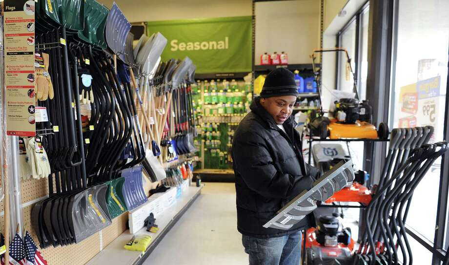 Kevin Stewart shops for a shovel at Karp's True Value in Stamford on Thursday, February 7, 2013, in preparation for winter storm Nemo. Photo: Lindsay Perry / Stamford Advocate