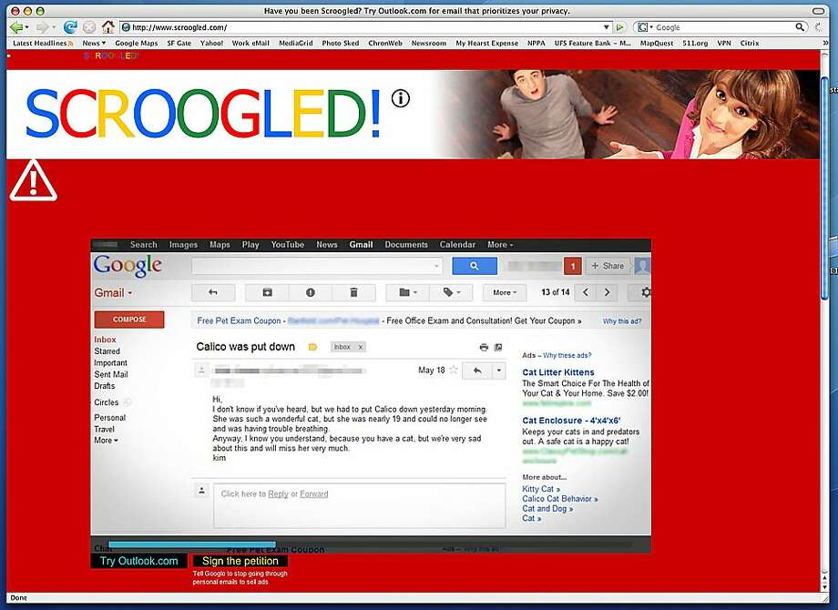 Microsoft's campaign takes aim at Google for its use of targeted advertising in Gmail. Photo: Scroogled.com
