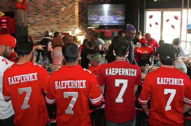 49ers quarterback Colin Kaepernick fans watch the Super Bowl with the Baltimore Ravens at Lamppost Pizza Sunday, Feb. 3, 2013 in Turlock California. Photo: Lance Iversen, The Chronicle / ONLINE_YES
