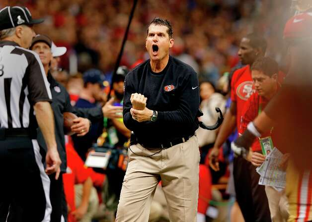 49ers coach Jim Harbaugh yelled at officials for a holding call on the missed catch by Michael Crabtree in the endzone in the fourth quarter. The Baltimore Ravens defeated the San Francisco 49ers in Super Bowl XLVVII 34-31 Sunday February 3, 2013. Photo: Brant Ward, The Chronicle / ONLINE_YES