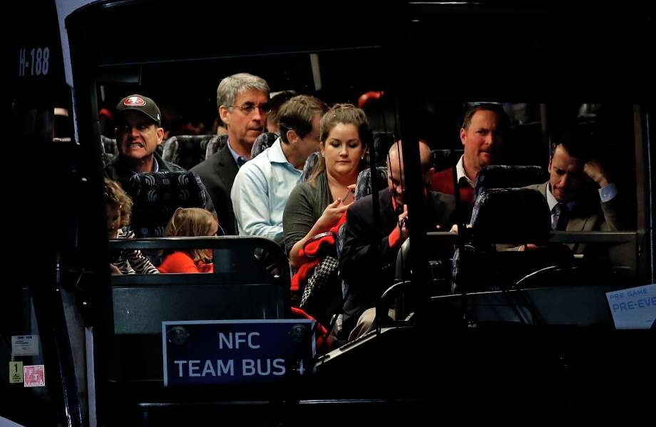 San Francisco 49ers head coach Jim Harbaugh makes a face on the team bus after arriving at the Louis Armstrong International Airport for the NFL Super Bowl XLVII football game Sunday, Jan. 27, 2013, in New Orleans. Photo: David J. Phillip, Associated Press / AP
