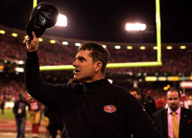 49ers coach Jim Harbaugh following the Niners win against the Green Bay Packers in the NFC Divisional Playoffs at Candlestick Park in San Francisco, Calif., on Saturday January 12, 2013. 49ers win 45-31. Photo: Wes Sumner, Special To The Chronicle / ONLINE_YES