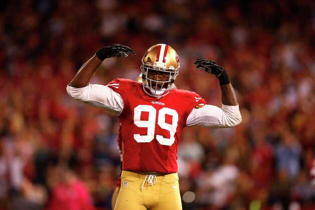 49ers Linebacker Aldon Smith (99)The San Francisco 49ers game against the Seattle Seahawks at Candlestick Park in San Francisco, Calif., on Thursday October 18, 2012. Photo: Stephen Lam, Special To The Chronicle / ONLINE_YES