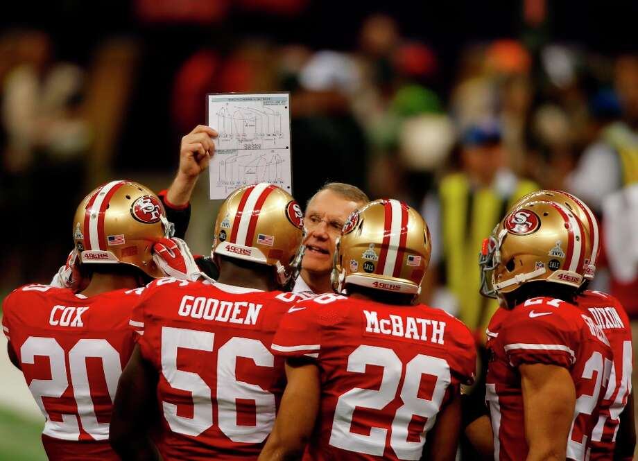 Cornerback Perrish Cox (20), Linebacker Tavares Gooden (56), Running back Rock Cartwright (28) and Safety C.J. Spillman (27) wait for instructions on the sidelines during Superbowl XLVII between the San Francisco 49ers and the Baltimore Ravens at the Mercedes-Benz Superdome on Sunday February 3, 2013 in New Orleans, La. Photo: Carlos Avila Gonzalez, The Chronicle / ONLINE_YES