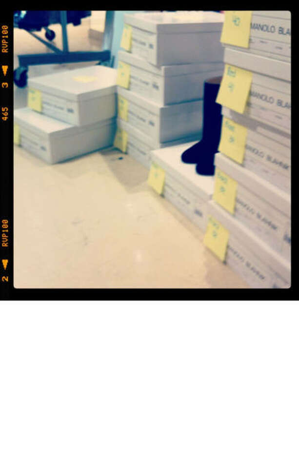 """Boxes of Blahniks! This is our fourth season working with Manolo Blahnik, and I'm so excited for this season's shoes."" Photo: Courtesy Of Wes Gordon"