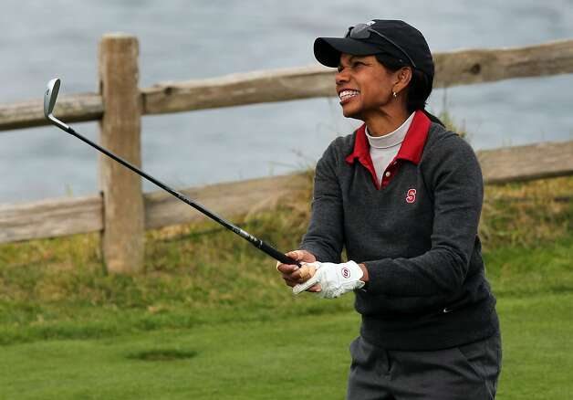 Condoleezza Rice watches her drive on the 7th hole at Pebble Beach. The former secretary of state is one of two women in the amateur field for the annual AT&T Pebble Beach National Pro-Am tournament. Photo: Lance Iversen, The Chronicle