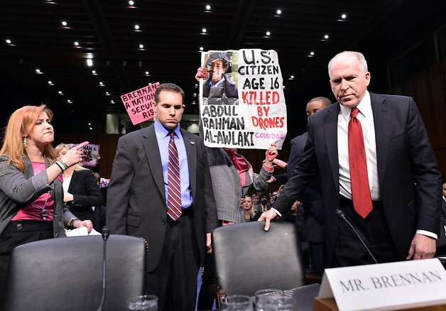 John Brennan is met by protesters as he arrives for hearings on his confirmation as CIA chief. Photo: Jewel Samad, AFP/Getty Images