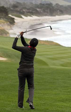 Condoleezza Rice hits her second shot onto the 9th hole at Pebble Beach Golf Links during opening rounds of the AT&T Pebble Beach Pro-Am golf tournament on Thursday, Feb. 7th, 2013, in Pebble Beach, Calif. Photo: Lance Iversen, The Chronicle