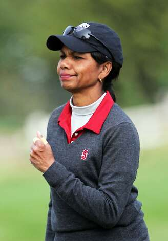 Condoleezza Rice reacts after hitting her second shot on the 5th hole at Pebble Beach Golf Links during opening rounds of the AT&T Pebble Beach Pro-Am golf tournament on Thursday, Feb. 7th, 2013, in Pebble Beach, Calif. Photo: Lance Iversen, The Chronicle