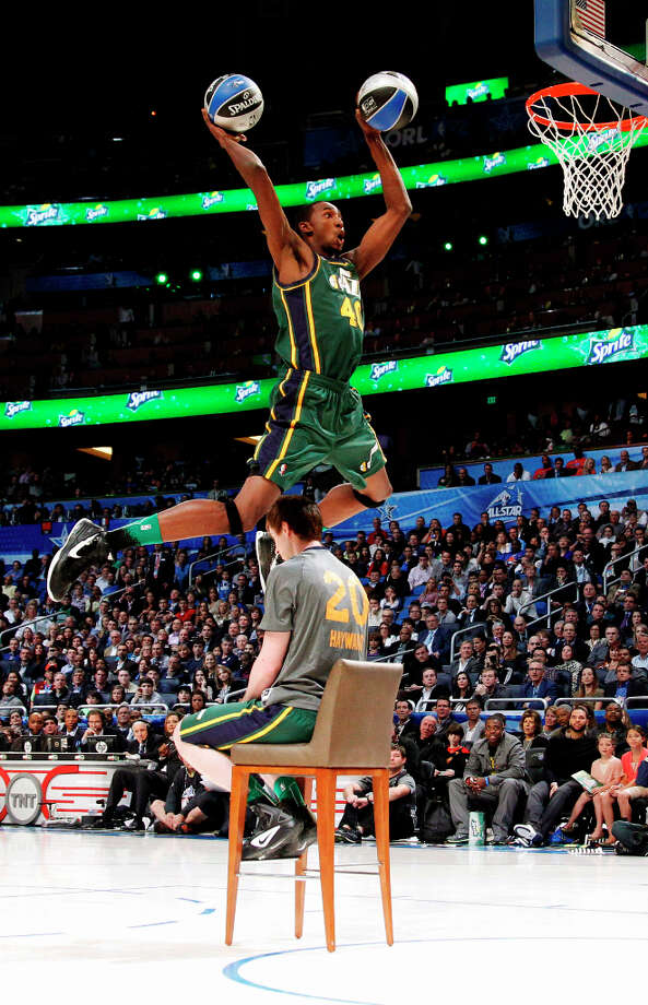 Western Conference Slam Dunk participantA late selection in the 2012 NBA Slam Dunk Championship replacing the injured Iman Shumpert, Jeremy Evans won the event by collecting 29% of the votes. Photo: Lynne Sladky, Associated Press / AP