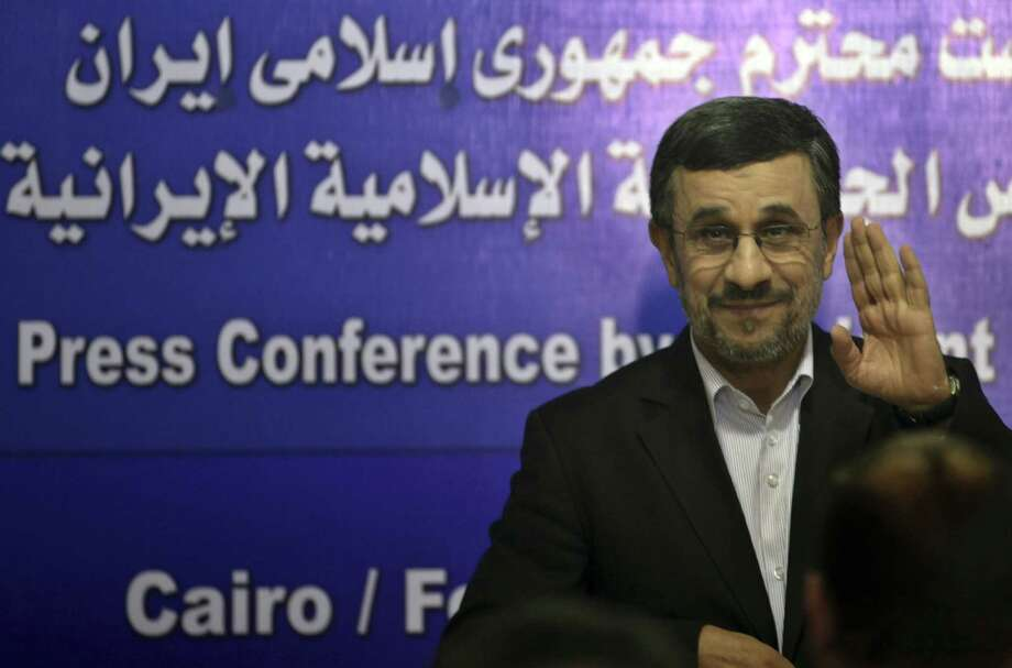 """Iranian President Mahmoud Ahmadinejad called his visit to Egypt """"a divine gift to me and the people of Iran."""" Photo: Khalil Hamra / Associated Press"""