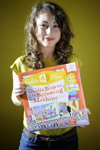 Debbie Sterling holds an example set of Goldie Blox and the Spinning Machine in her Oakland office.