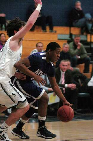 Westhill's Guyveson Cassamajor in action as Staples High School hosts Westhill in a boys basketball game in Westport, Conn., Feb. 7, 2013. Photo: Keelin Daly / Keelin Daly