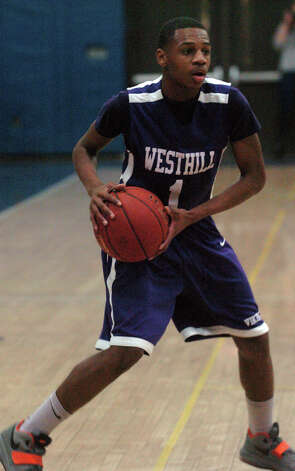Westhill's Jeremiah Livingston in action as Staples High School hosts Westhill in a boys basketball game in Westport, Conn., Feb. 7, 2013. Photo: Keelin Daly / Keelin Daly