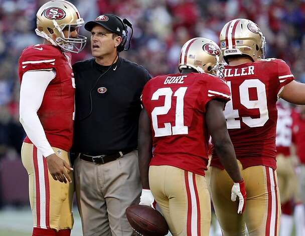 Coach Jim Harbaugh talked with Colin Kaepernick  after Frank Gore's touchdown in the fourth quarter. The San Francisco 49ers and the Saint Louis Rams played to a 24-24 tie Sunday November 11, 2012. Photo: Brant Ward, The Chronicle