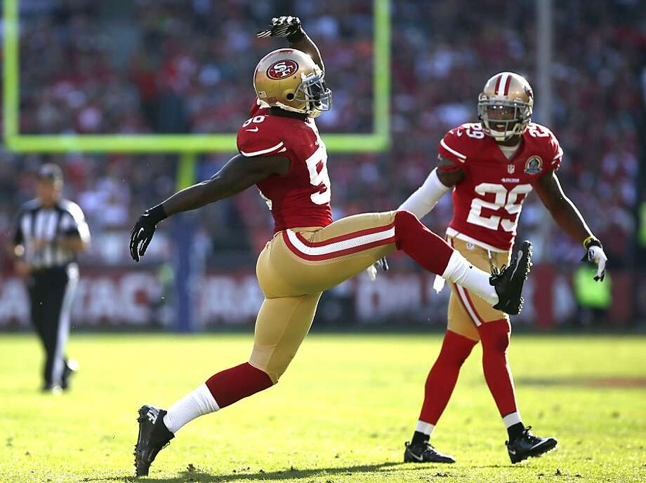 Linebacker Tavares Gooden encapsulated the 49ers' high-stepping ways in a regular-season win over the Dolphins at Candlestick Park in December. Photo: Stephen Lam, Special To The Chronicle