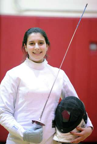 Greenwich High School fencer Ava Salzer, 17, a senior, during fencing practice at Greenwich High School, Thursday night, Feb. 7, 2013. Photo: Bob Luckey / Greenwich Time