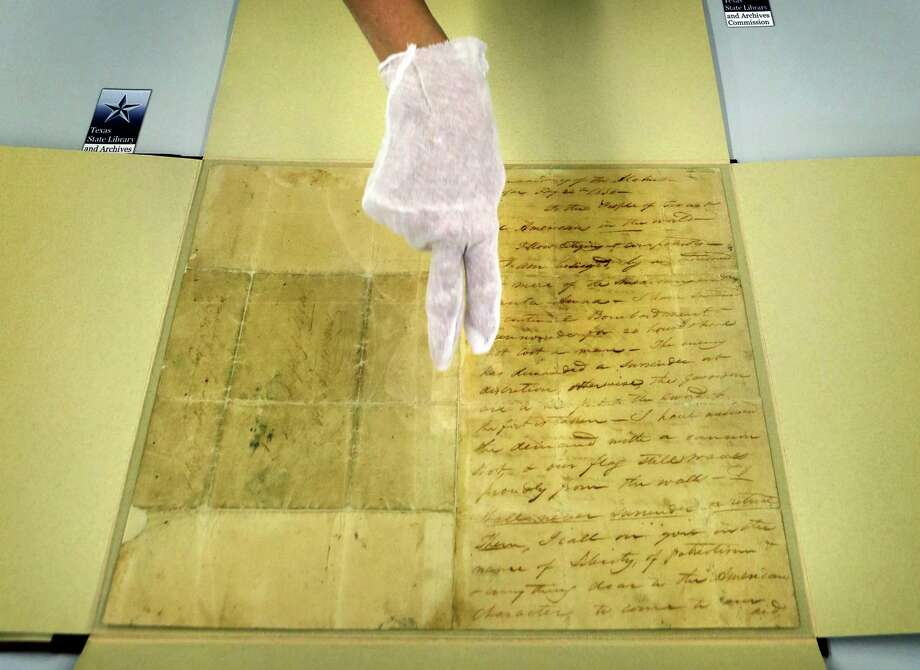 """William Barret Travis' """"victory or death"""" letter will be on display for the first time at the Alamo in San Antonio from Feb. 23 to March 7. Photo: Bob Owen, Staff / © 2012 San Antonio Express-News"""