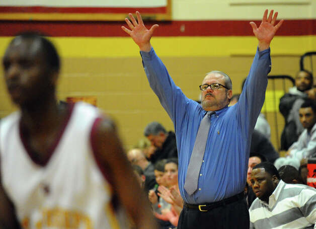 Central Head Coach Barry McLeod, during boys basketball action against St. Joseph in Trumbull, Conn. on Thursday February 7, 2013. Photo: Christian Abraham / Connecticut Post