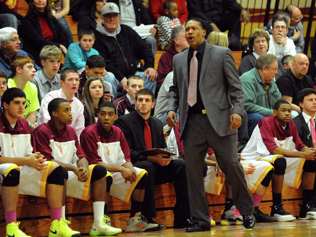 St. Joseph Head Coach Chris Watts, during boys basketball action against Central in Trumbull, Conn. on Thursday February 7, 2013. Photo: Christian Abraham / Connecticut Post