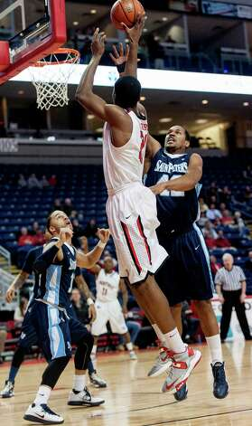 Fairfield University's Amadou Sidibe takes a shot in a men's basketball game against St. Peter's University played at the Webster Bank Arena, Bridgeport, CT on Thursday February 7th, 2013. Photo: Mark Conrad / Connecticut Post Freelance